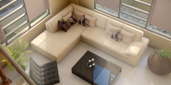 modern living room aerial view