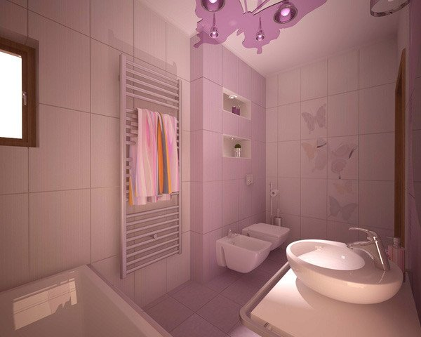 Creative bathroom with purple color