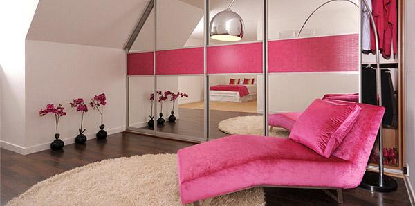 Pink Crocodile Leather Mirror Bedroom