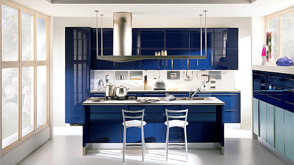 gloss blue kitchen