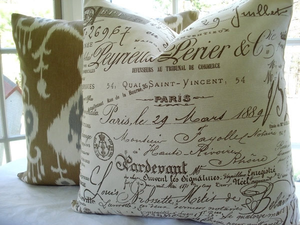 French Document Script Pillow