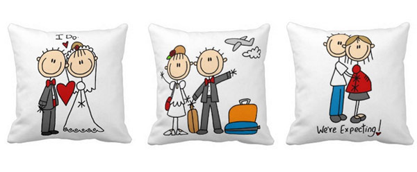 Couple Stick Figures Throw Pillow