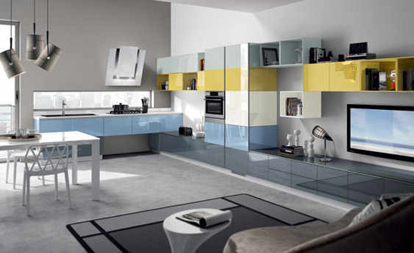 blue and yellow cabinets