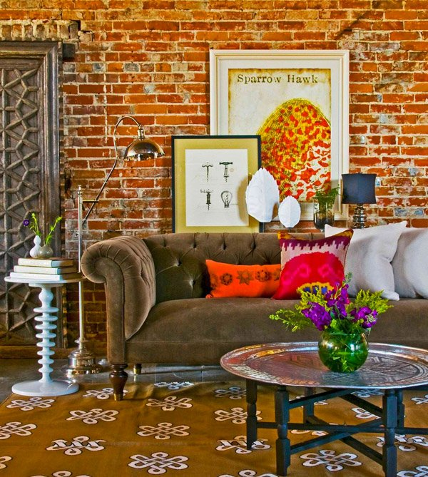 brick walls. 20 Incredibly Eclectic Living Room Designs   Home Design Lover