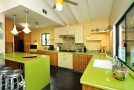 homey green kitchen designs