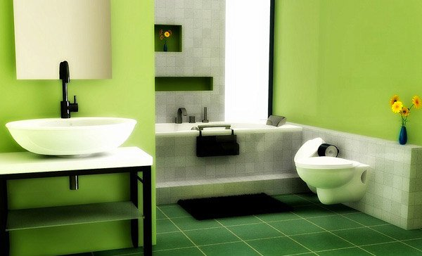 green floor Bathroom