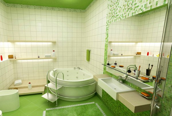green kids bathroom