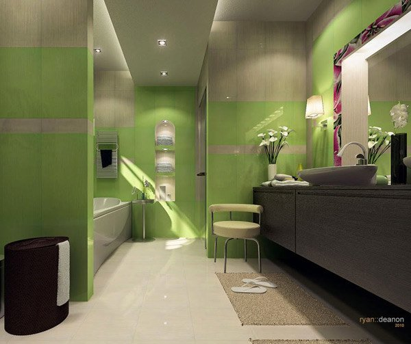 Master Bath in green color