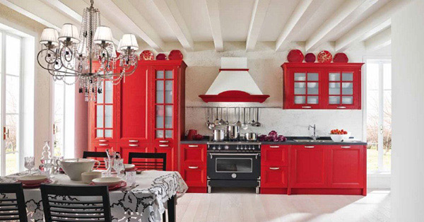 Red kitchen designs