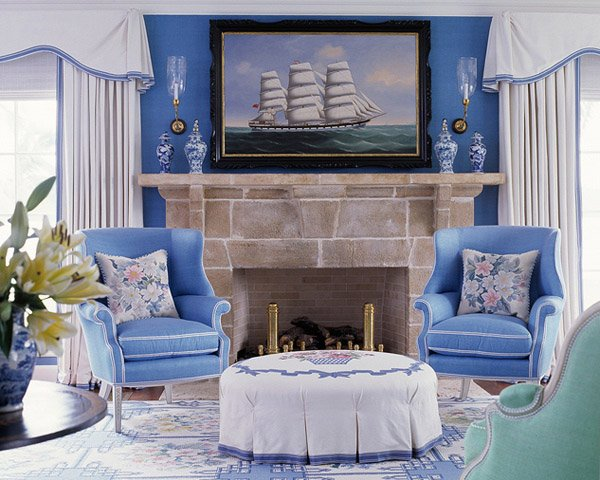 blue themed room