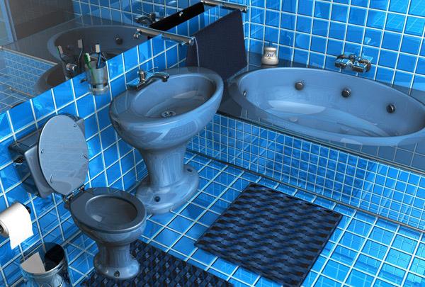 blue squared tile