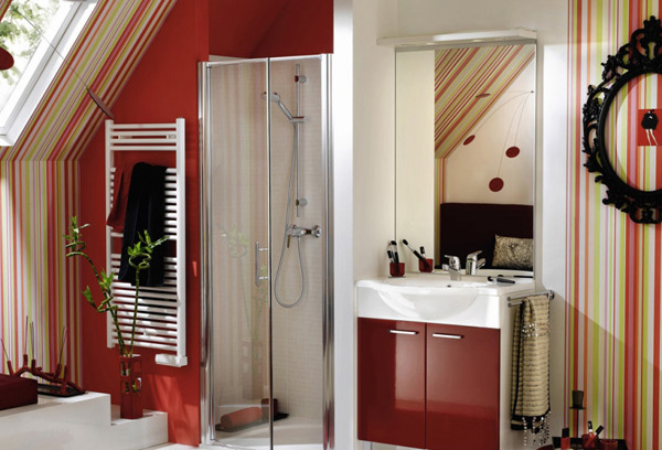 contemporary red bathroom