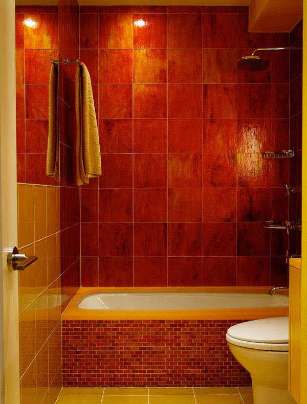 red orange glass tiles
