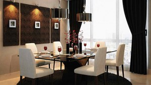 black and white dining room areas