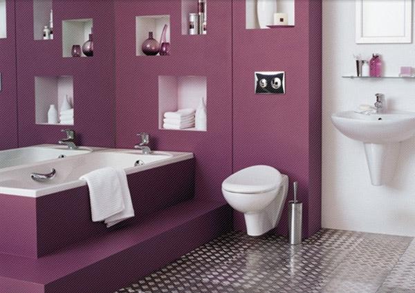 purple contemporary bathroom