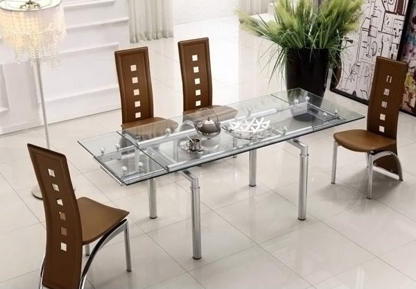 Clear Glass Extendable Table