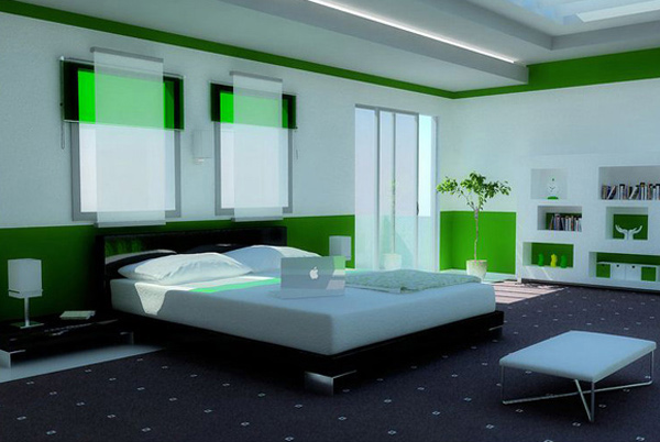 green modern bedroom - Green Bedroom Design