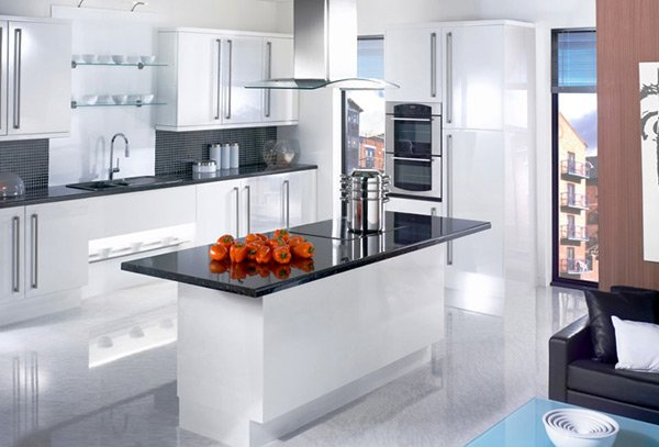 17 white and simple high gloss kitchen designs home design lover Kitchen platform granite design