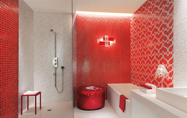 lovely red bathroom design