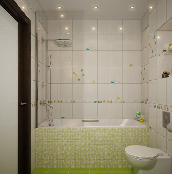 White and Green Mosaic Bath