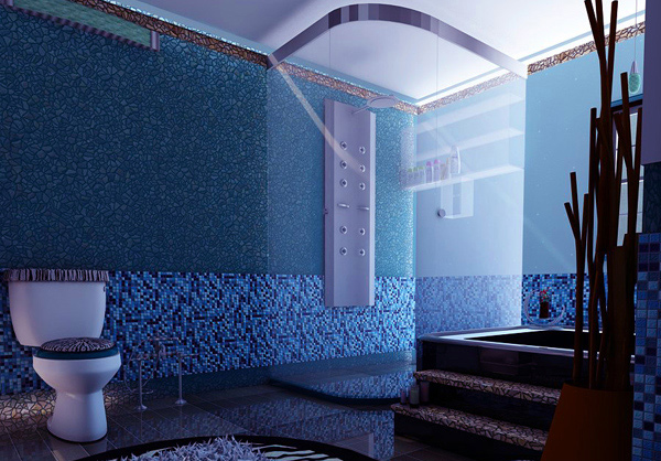 dark blue bathroom design