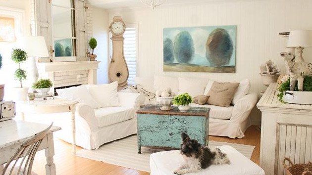 Distressed Yet Pretty White Shabby Chic Living Rooms | Home Design