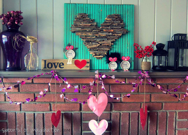 valentine mantle decor