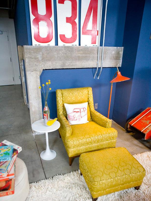 Yellow Living Room Chair and Ottoman - 15 Awesome Retro Inspired Living Rooms Home Design Lover