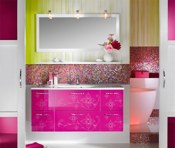 Mosaic tiles. 15 Lively Multi Colored Bathroom Designs   Home Design Lover