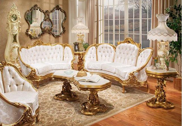 White and gold furniture