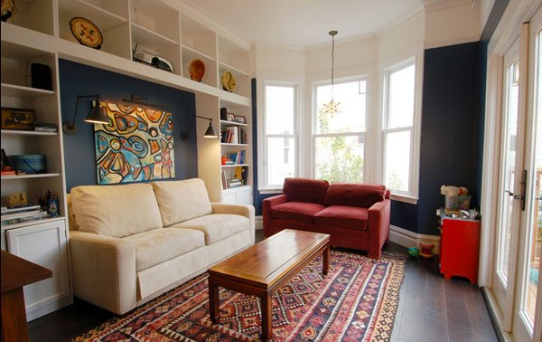 blue wall. 15 Interesting Living Room Paint Ideas   Home Design Lover