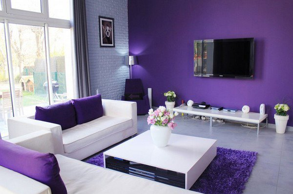 minimalist purple living room interior