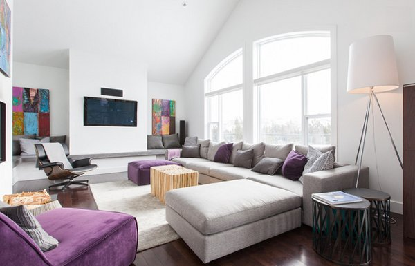 15 Catchy Living Room Designs With Purple Accent | Home Design Lover