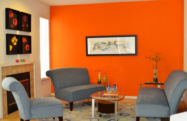 orange accent colors - Interior Paint Design Ideas For Living Rooms