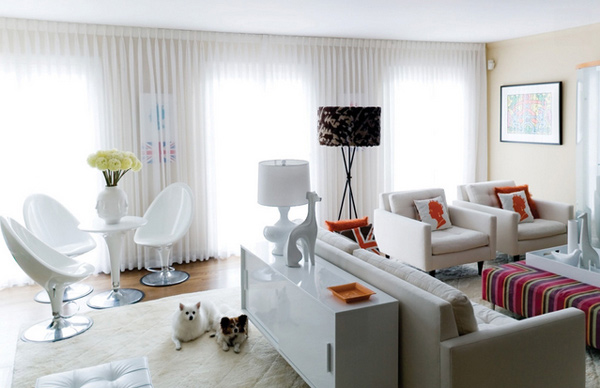 15 lovely white themed living rooms home design lover for Living room 2 seating areas