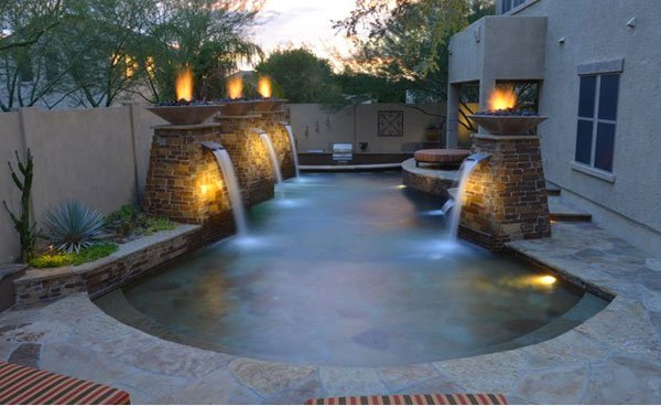 Pool Waterfalls with Fire