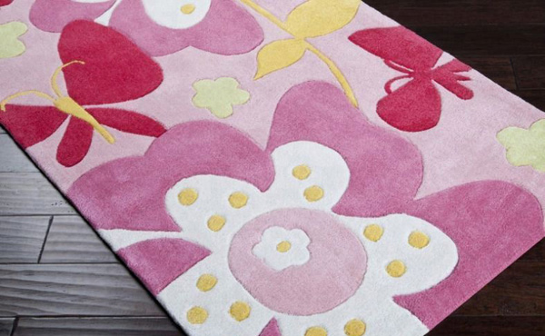 Pink Contemporary Floral Butterfly