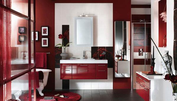 maroon bathroom theme