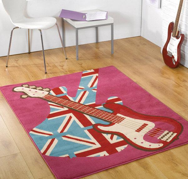 Union Jack Girls Pink Rock Retro Rug