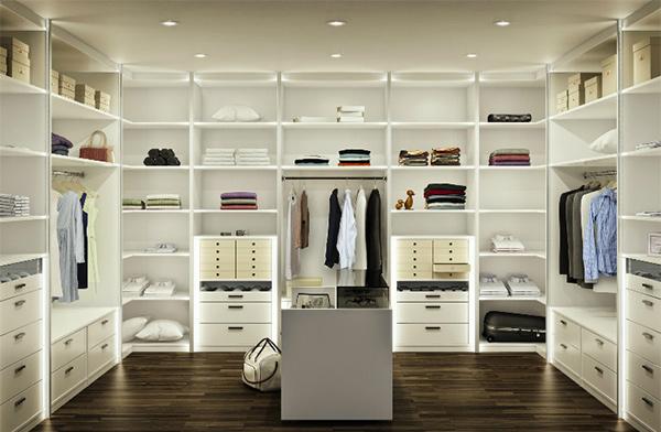 white walk-in closet