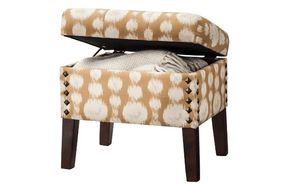 Storage Ottoman with Nailheads - Gold