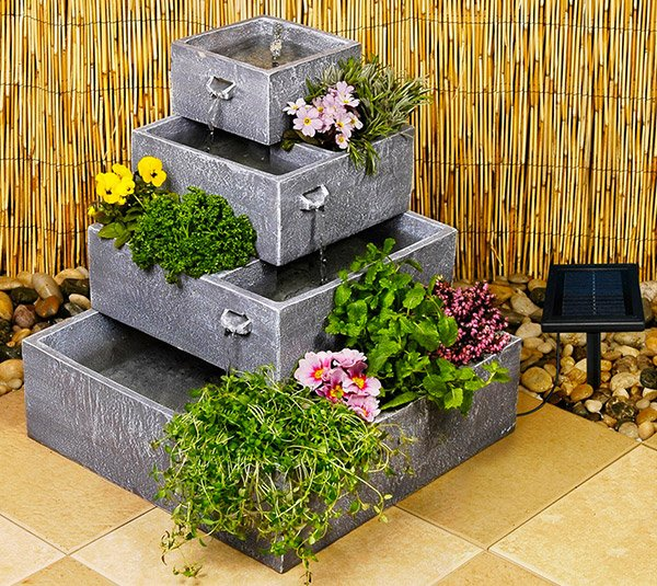Square 4-Tier Solar Water Feature Cascading Herb Planter