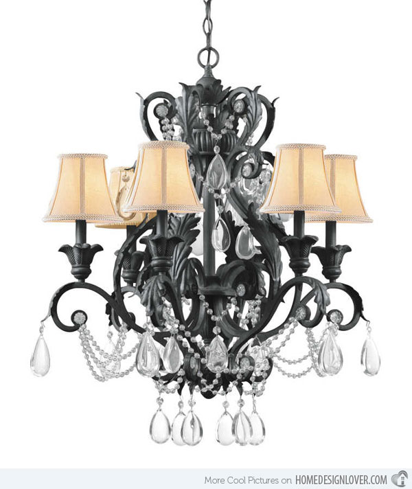 Crystal And Iron Chandeliers: 6 Light Wrought Iron Crystal Chandelier with Dark Rust finish,Lighting