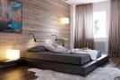 wood panel bedroom