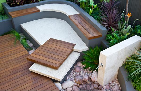 concrete, stones and wood