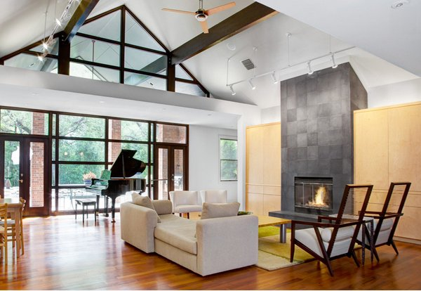 slate fireplace cathedral ceiling lighting ideas