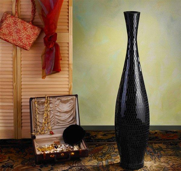 Black Trumpet Mosaic Floor Vase