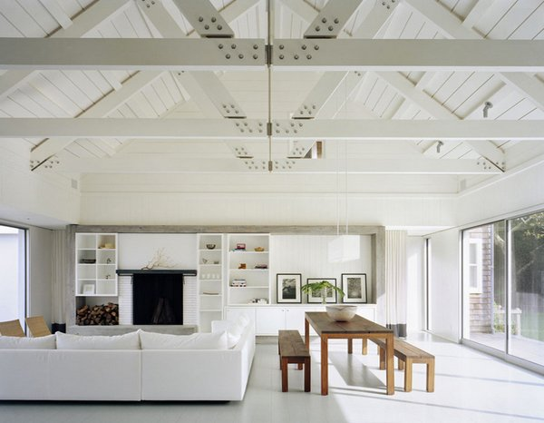 exposed wood trusses