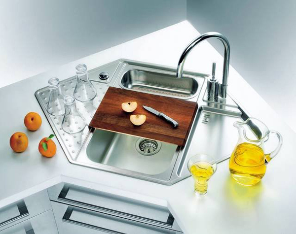 hexagon stainless corner sink