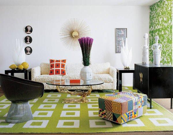 mid-century geometric rug
